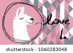 i love the llama. cute lama ... | Shutterstock .eps vector #1060283048