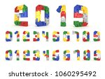 colorful number block brick... | Shutterstock . vector #1060295492