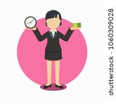businesswoman with clock and... | Shutterstock .eps vector #1060309028