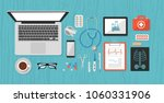 medical objects  doctor's desk  ... | Shutterstock .eps vector #1060331906