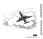 flying plane against a cloud....   Shutterstock .eps vector #106033505