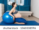 pregnant woman with fit ball   Shutterstock . vector #1060338596