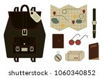 isolated set of vintage travel... | Shutterstock .eps vector #1060340852