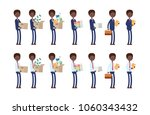 carries boxes  gets a job ... | Shutterstock .eps vector #1060343432