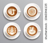 latte coffee realistic set with ... | Shutterstock .eps vector #1060346135