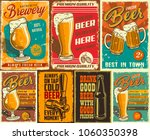 Stock vector set of beer poster in vintage style with grunge textures and beer objects vector illustration 1060350398