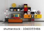 colorful teen room with bed and ...   Shutterstock . vector #1060355486