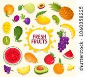 colorful cartoon fruit poster... | Shutterstock .eps vector #1060358225