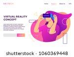 vr virtual reality concept girl ... | Shutterstock .eps vector #1060369448