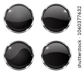 glass black buttons. round 3d... | Shutterstock .eps vector #1060377632