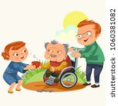 son and daughter care disable... | Shutterstock . vector #1060381082