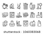vector set of linear icons on... | Shutterstock .eps vector #1060383068