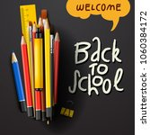 back to school title words with ... | Shutterstock .eps vector #1060384172