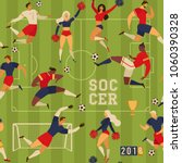 football soccer players and... | Shutterstock .eps vector #1060390328