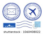 blue postal elements. istanbul  ... | Shutterstock . vector #1060408022