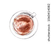 hand drawn cup of cappuccino ... | Shutterstock . vector #1060414082