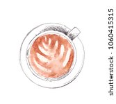 hand drawn cup of cappuccino ... | Shutterstock . vector #1060415315