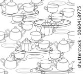 seamless pattern with a tea set.... | Shutterstock .eps vector #1060418975