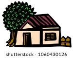 country house with a tree and... | Shutterstock .eps vector #1060430126