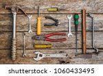 old technical tool top view on... | Shutterstock . vector #1060433495