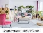 red armchair on patterned...   Shutterstock . vector #1060447205