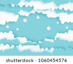 modern paper art clouds with... | Shutterstock .eps vector #1060454576