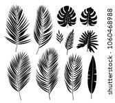 set of palm leaves. black... | Shutterstock .eps vector #1060468988