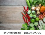 mix of thai vegetable in bamboo ... | Shutterstock . vector #1060469702