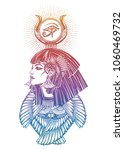isis diety. portrait of a... | Shutterstock .eps vector #1060469732