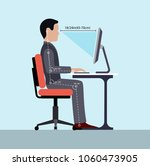 infographics correct posture at ... | Shutterstock .eps vector #1060473905