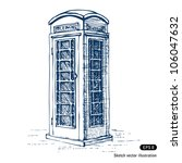 London Pay Phone. Hand Drawn...