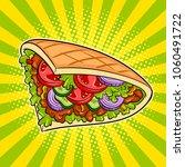 doner kebab pop art retro... | Shutterstock . vector #1060491722