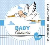 baby shower card.baby flying on ... | Shutterstock .eps vector #1060492445