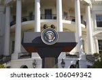 Presidential Seal On Podium In...