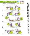wiss ball exercises  fitness ... | Shutterstock .eps vector #1060517948