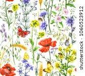 hand drawn floral seamless... | Shutterstock . vector #1060523912