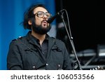 TILBURG, THE NETHERLANDS - JUNE 16: Blaudzun plays on the first day of the two-day Festival Mundial on June 16, 2012 in Tilburg - stock photo