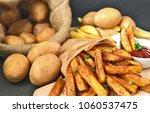 homemade crispy seasoned french ...   Shutterstock . vector #1060537475