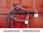 locked wooden door. colorful... | Shutterstock . vector #1060562618