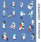 set of robot isometric isolated ... | Shutterstock .eps vector #1060589825