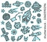 cosmic doodle blue stickers set ... | Shutterstock .eps vector #1060590296