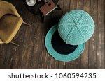 knitted pouf in a modern... | Shutterstock . vector #1060594235