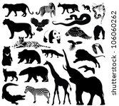Stock vector wild animals silhouettes vector illustrations 106060262