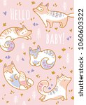 hello baby greeting card. print ... | Shutterstock .eps vector #1060603322