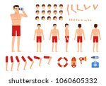 male lifeguard creation kit....   Shutterstock .eps vector #1060605332
