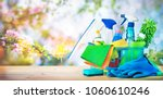 basket with cleaning items on... | Shutterstock . vector #1060610246