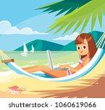 freelance worker at the beach | Shutterstock .eps vector #1060619066