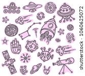 cosmic doodle pink stickers set ... | Shutterstock .eps vector #1060625072