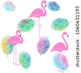 flamingo pattern with palm... | Shutterstock .eps vector #1060631195