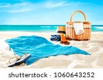 towel on beach and free space... | Shutterstock . vector #1060643252